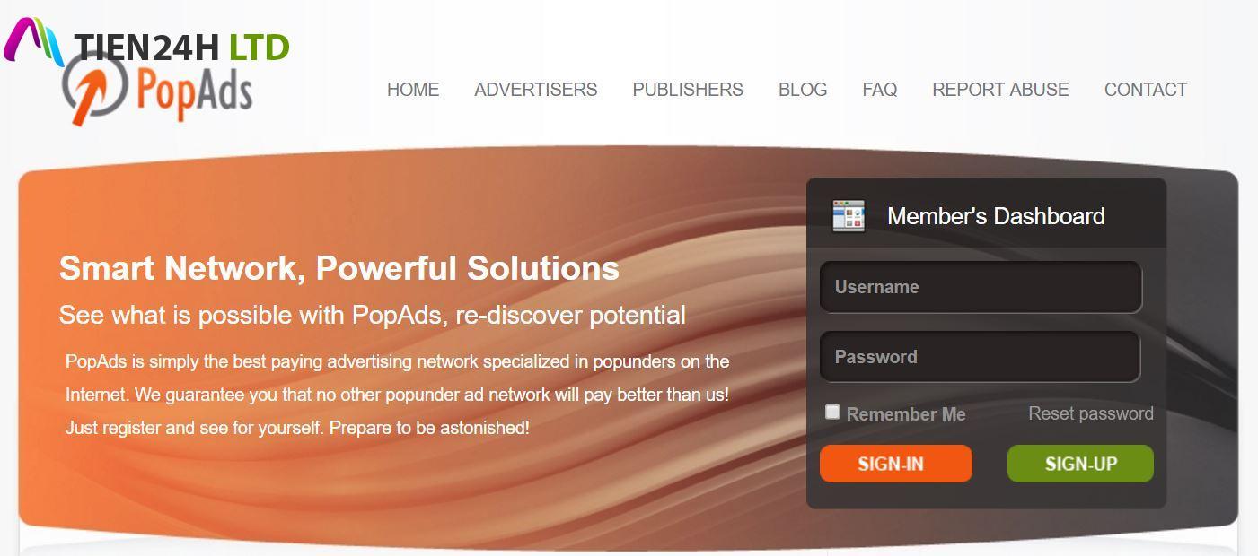 PopADS kiếm tiền cho Website nhiều truy cập